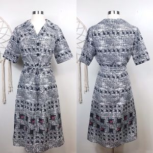 Vintage Retro Graphic Houndstooth Dress